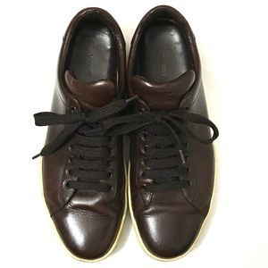 Tom Ford Mens Brown Leather Low Top Sneakers